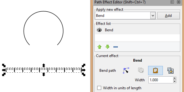 wrap ruler along path inkscape