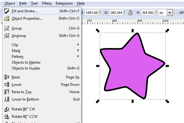 inkscape fill and stroke