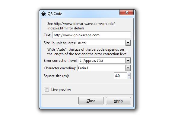inkscape qr code generator