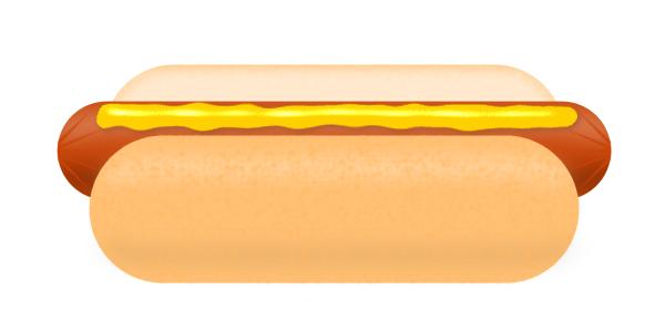 hot dog in bun mustard vector